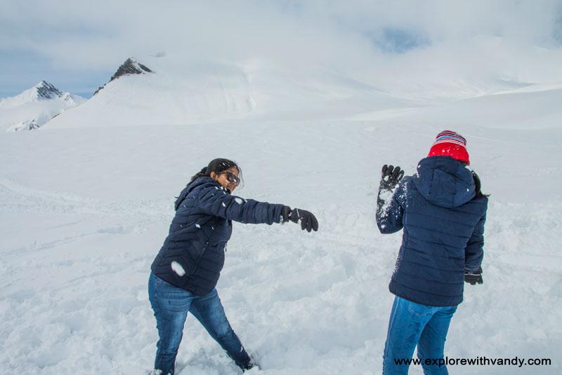 Playing with snow at Gudauri