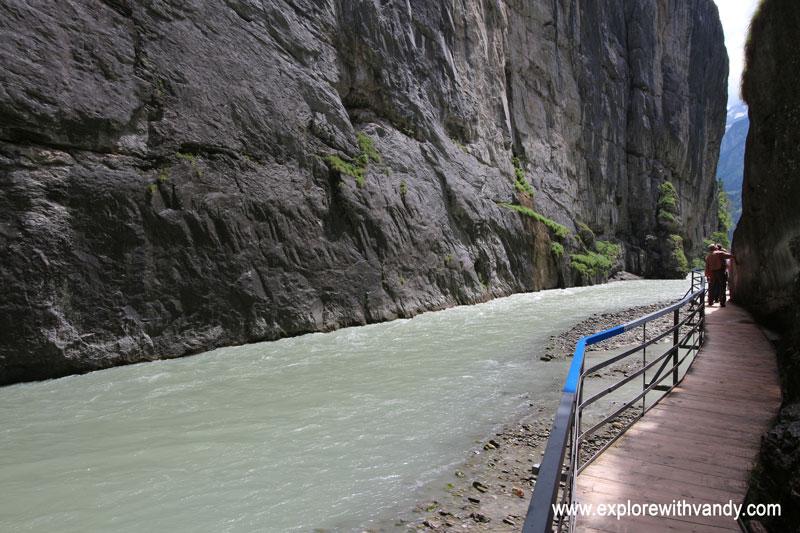 Wooden walkway inside Aare gorge