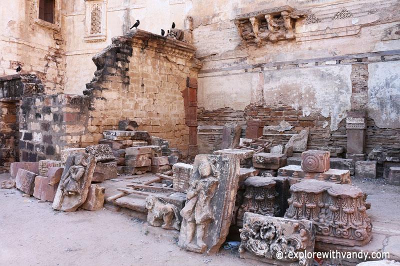 Broken artifacts outside Rani ka vas