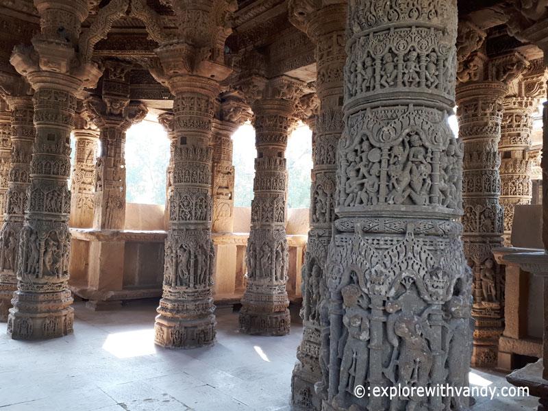 Intricately carved pillars of Sabha Mandap